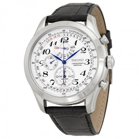 Seiko Neo Classic Alarm Perpetual Chronograph White Dial Black Leather Mens Watch SPC131 $120 + Free Shipping