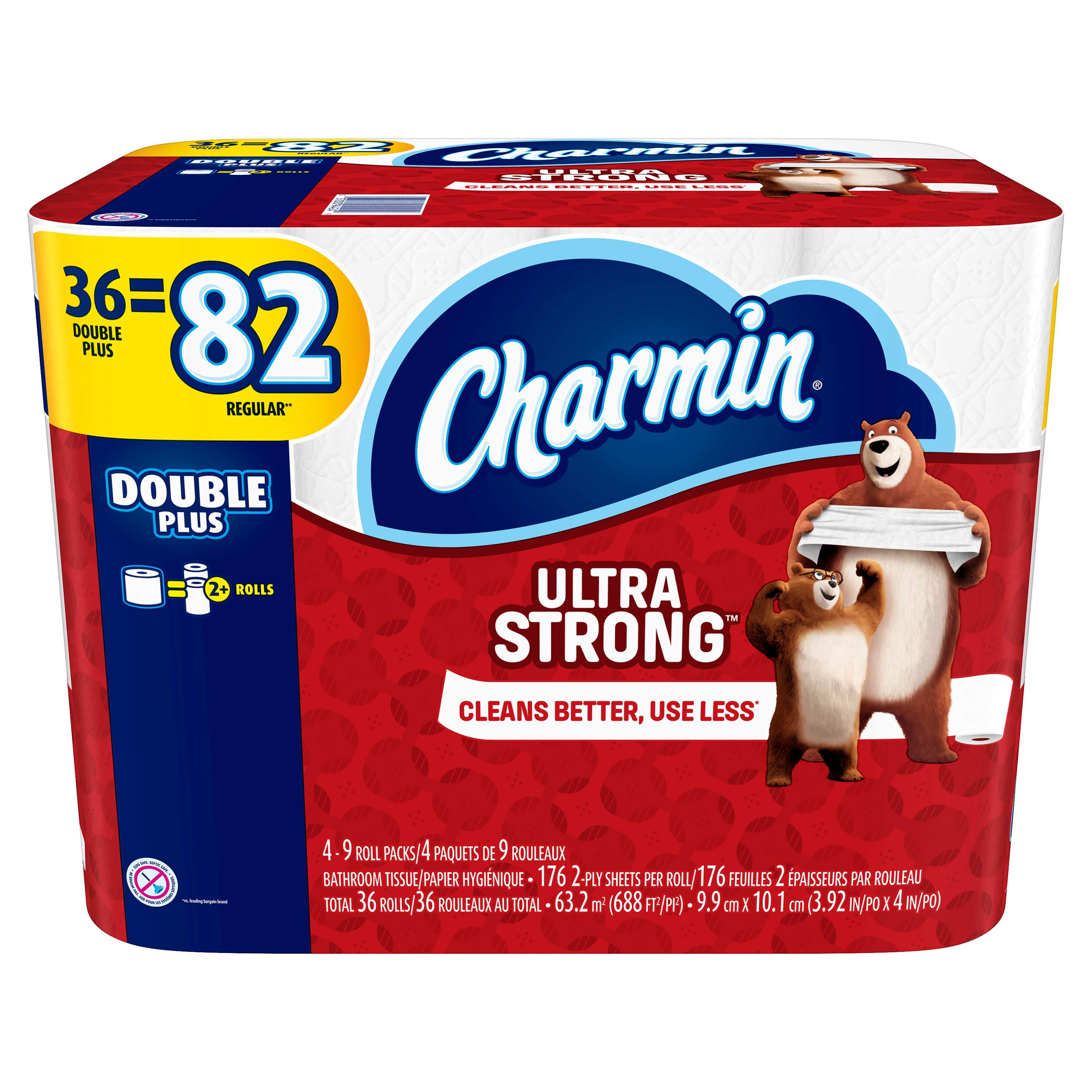 108 Ct Charmin Double Plus Roll Toilet Paper Ultra Strong