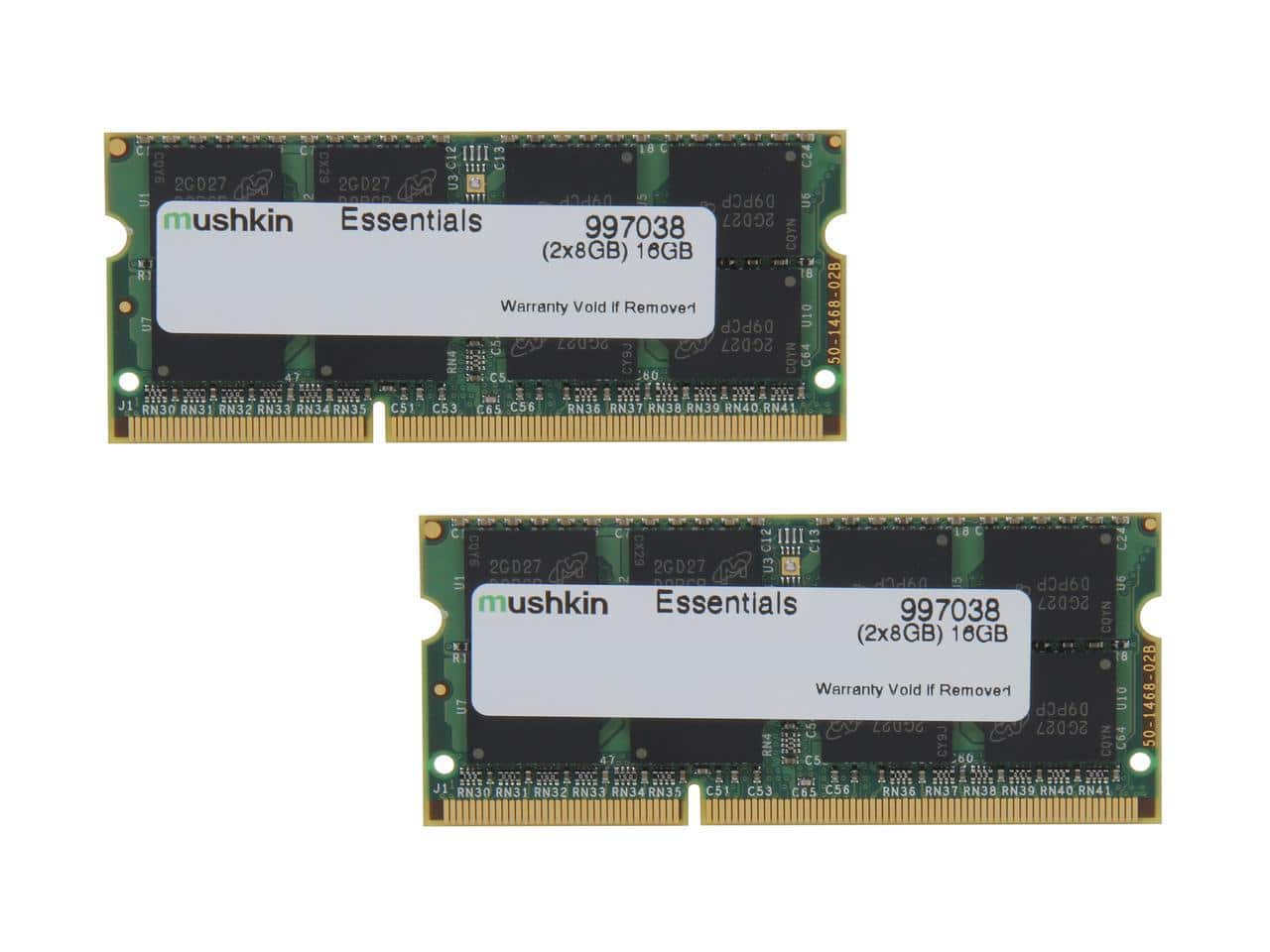 16GB Mushkin Enhanced Essentials DDR3 1600MHz Laptop Memory Kit  $53 + Free Shipping