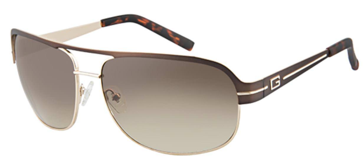 f0d95cb6a GUESS Metal Aviator Men's Sunglasses (Brown Gold .