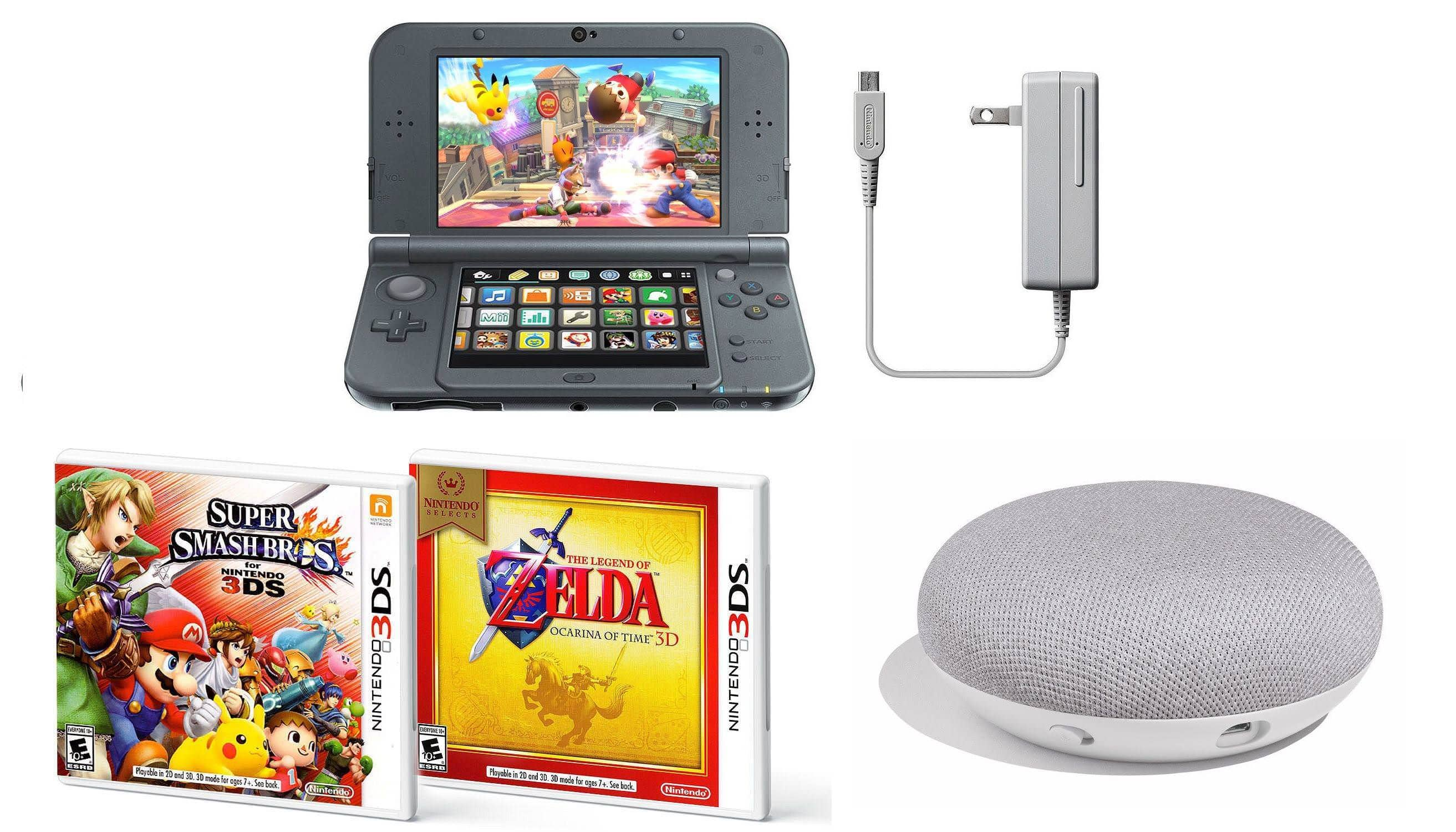 Nintendo New 3DS XL Console (Black) w/ Super Smash Bros. 3DS + Zelda: Ocarina of Time 3D + AC Adapter + Google Home Mini Smart Speaker - $189.99 + Free Shipping @ eBay