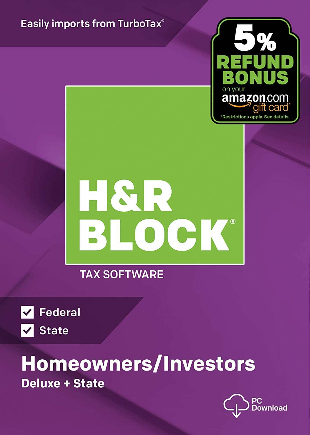 HR Block 2018 Tax Software Deluxe State Email Delivery
