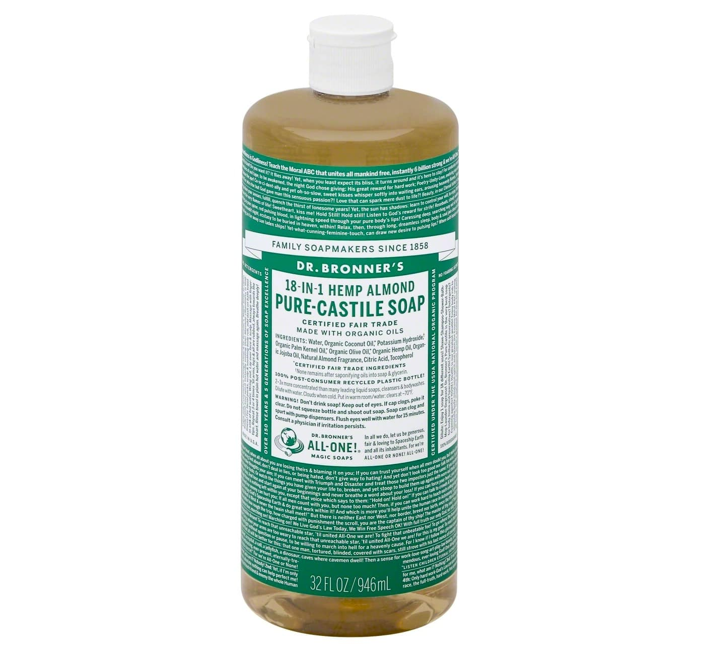 picture about Bronner's 15 Off Printable Coupon named 32 oz. Dr. Bronners Purely natural Castile Cleaning soap + $5 Emphasis Reward Card EXPIRED