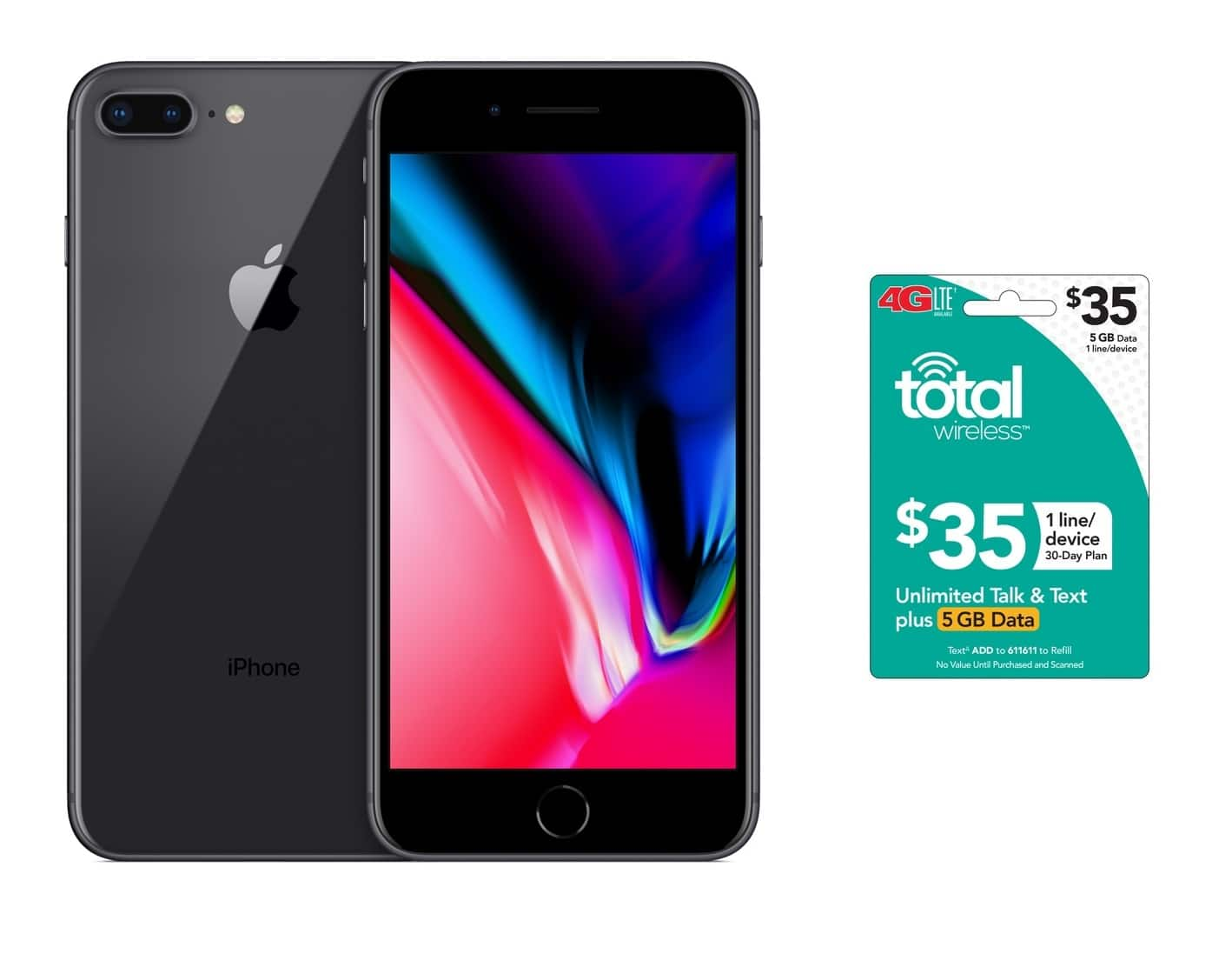 """Total Wireless 64GB Apple iPhone 8 Plus 5.5"""" (Refurbished) + $35 5GB Plan Card - $334.99 w/ First-Time Email Offer Sign-Up + Free S/H"""