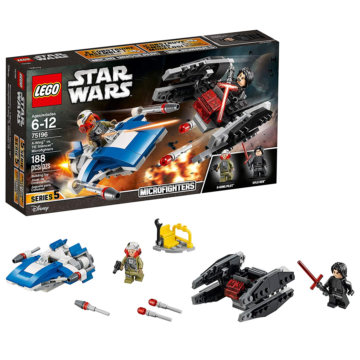 LEGO Star Wars: The Last Jedi A-Wing vs. TIE Silencer Microfighters Building Kit (75196) $11.99 @ Amazon / Walmart