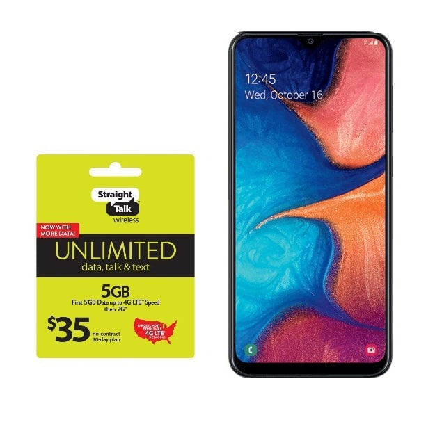 32GB Samsung Galaxy A20 Straight Talk Smartphone (Reconditioned) + 1-Month $35 Unlimited Talk & Text + 5GB Data Plan - $94.99