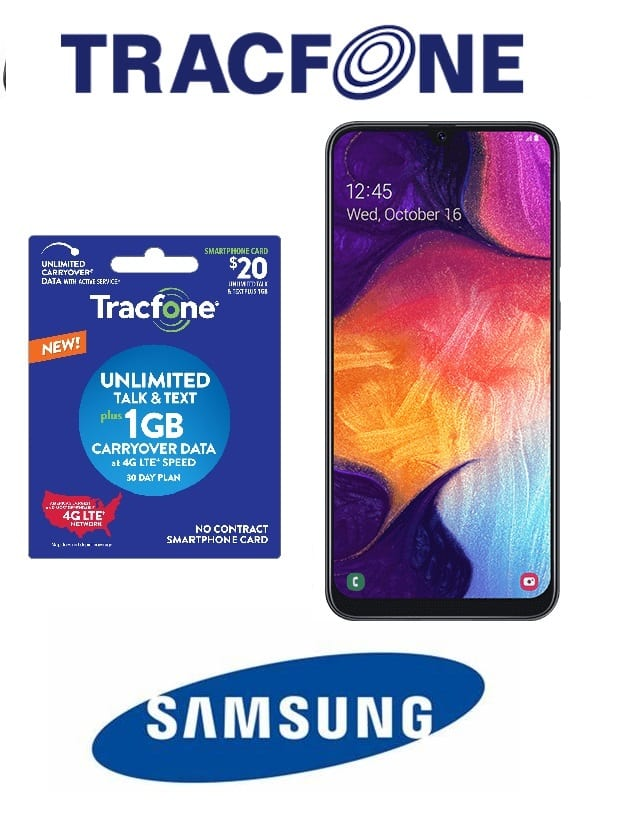 Tracfone Samsung Galaxy A20 Prepaid Phone (Locked) + $30 Prepaid Plan (30-Days of Service) $90 + Free S/H