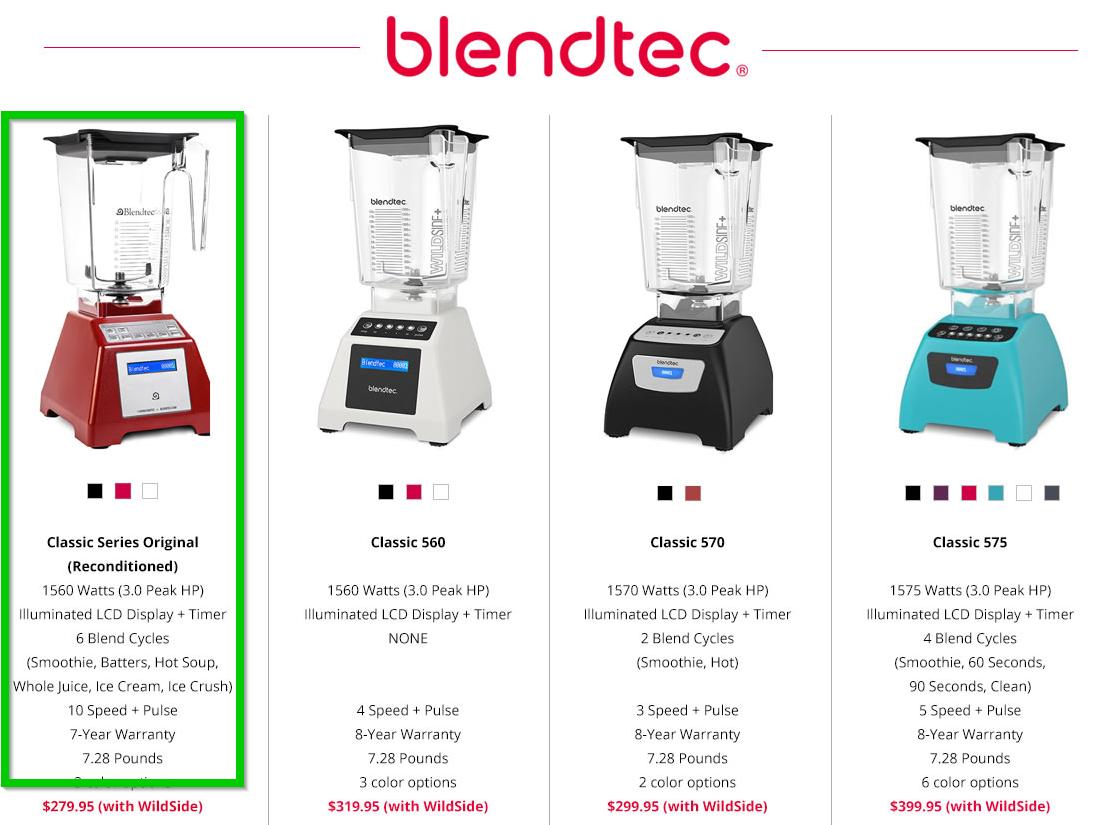 REFURB Blendtec TB-621-25 Total Blender Classic with WildSide+ Jar (3yr warranty) $189