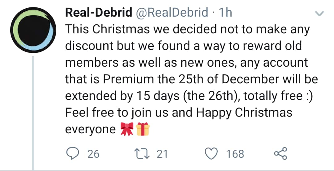 Real-Debrid annual-sale is live: free 15 day extension for