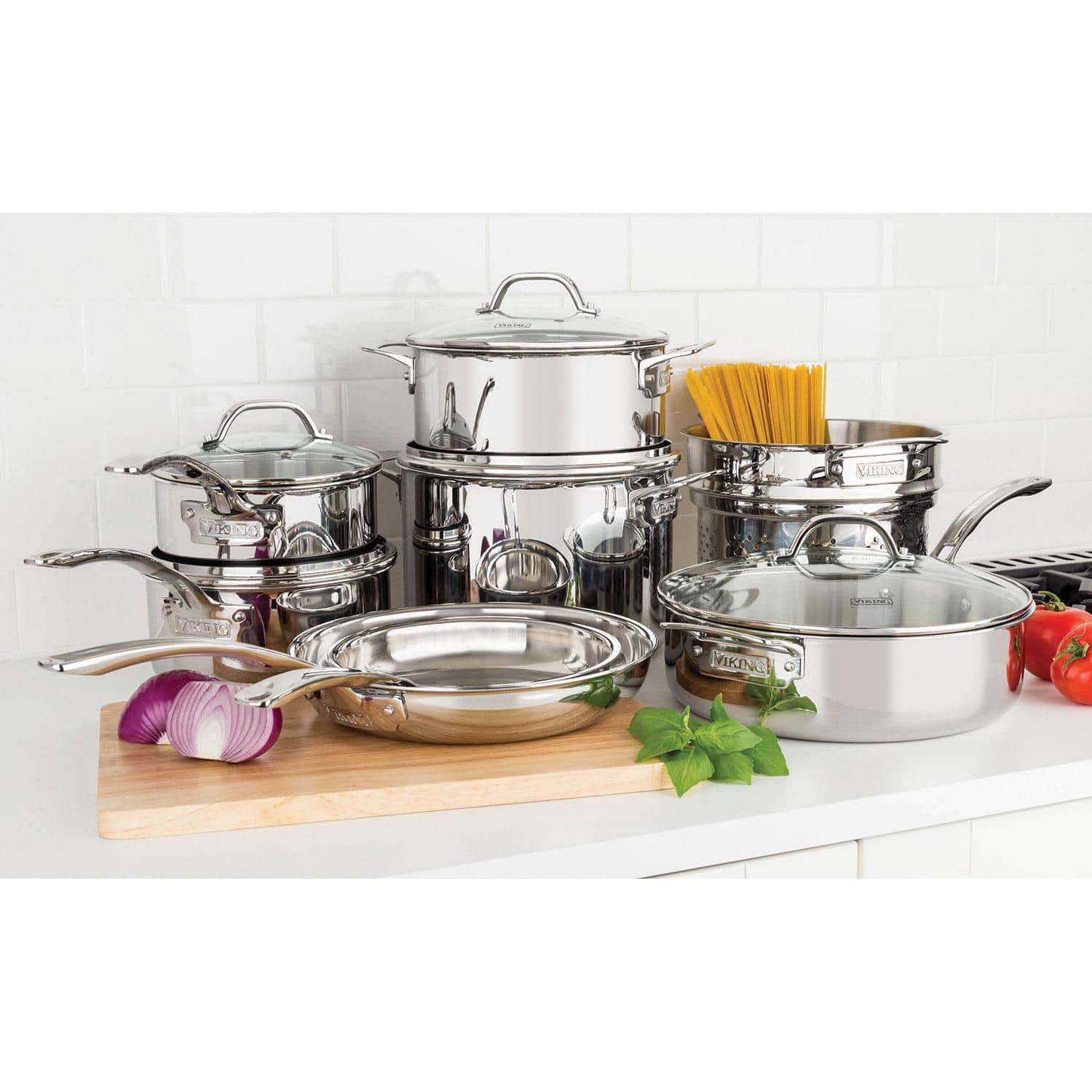 Viking 13-Piece Tri-Ply Cookware Set $149.81