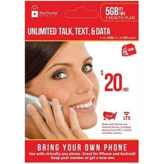Target Store:  Red Pocket Mobile Unlimited Minutes, Text, Data 5GB 3 Month Plan $24.99 (YMMV)
