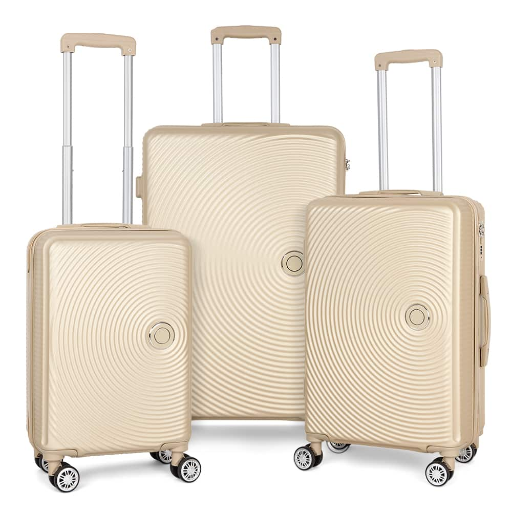 3 Piece Hardside 8-wheel Spinner Suitcase Luggage Set, Includes Checked and Carry On - Champagne - Walmart.com - Walmart.com