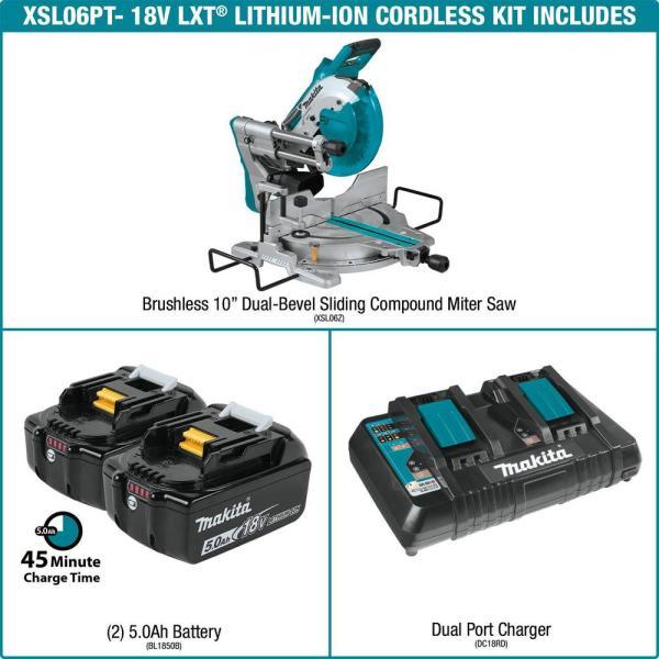 "Makita 10"" Sliding Miter (XSL06PT) w/ 2x 5ah Batteries + 2 5ah additional Batteries $529"