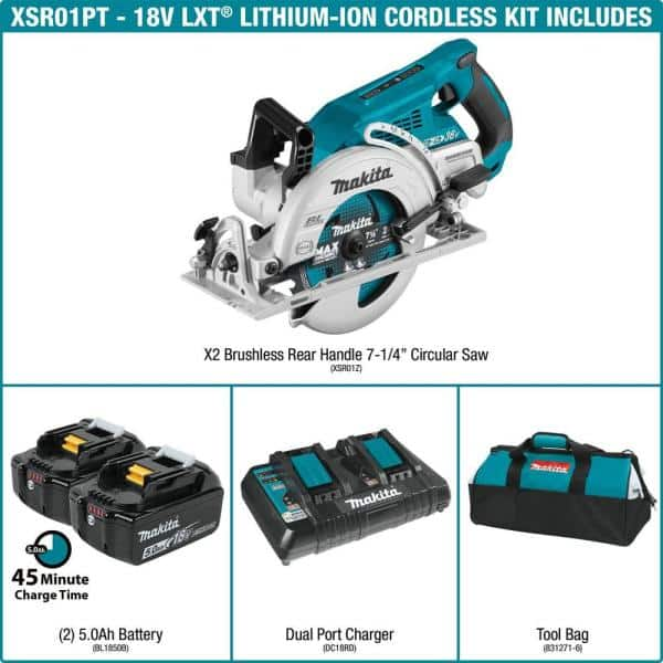 Makita XSR01PT 36v (18 X 2) Rear Handle Circular Saw Kit + Extra Batteries. 4 5Ah Batteries total. $249