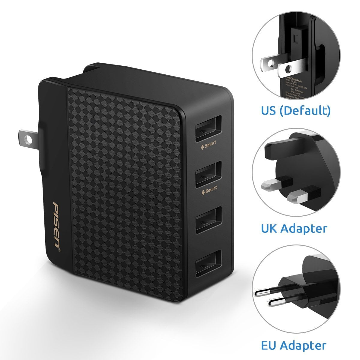 6f2e7df06490e3 4 Port USB Wall Charger (20W/5V 4A) with International Adapters $9.23