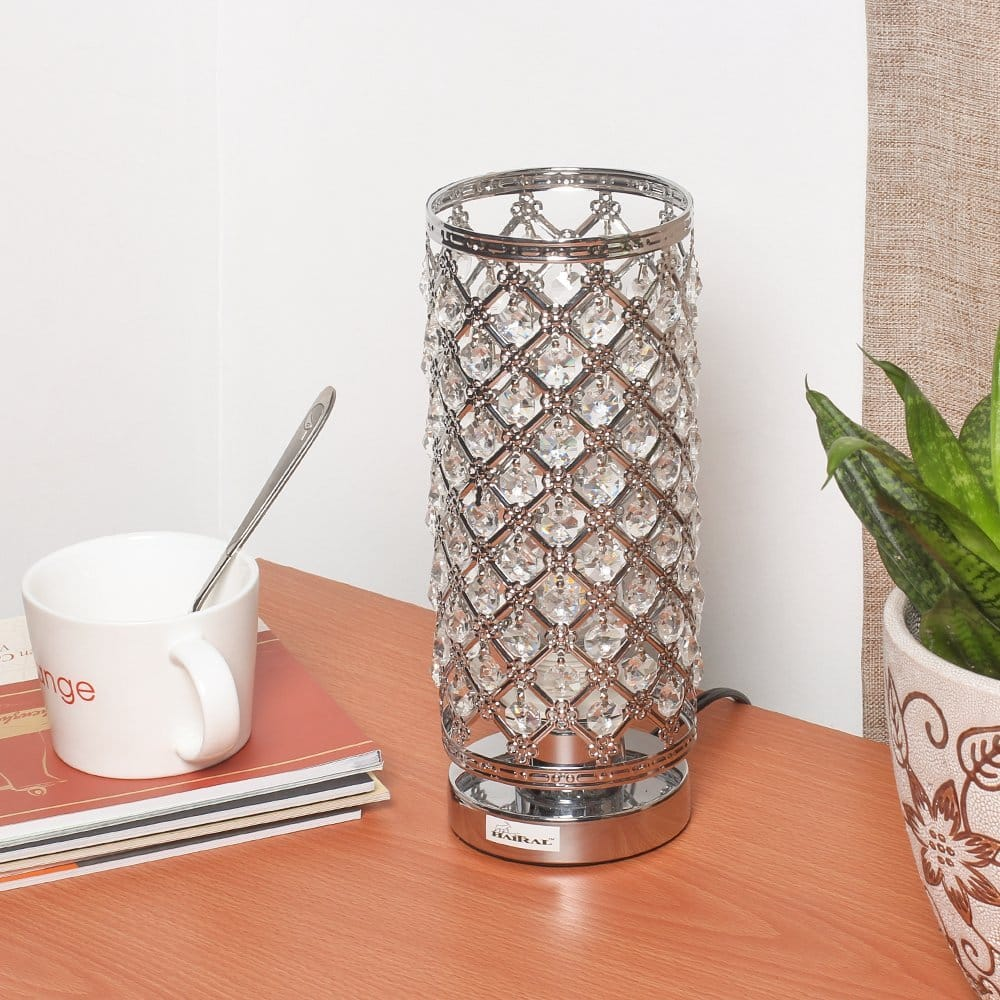 HAITRAL Crystal Table Lamp / Night Light Lamp with Metal Frame & 110 Piece Crystal $13.99