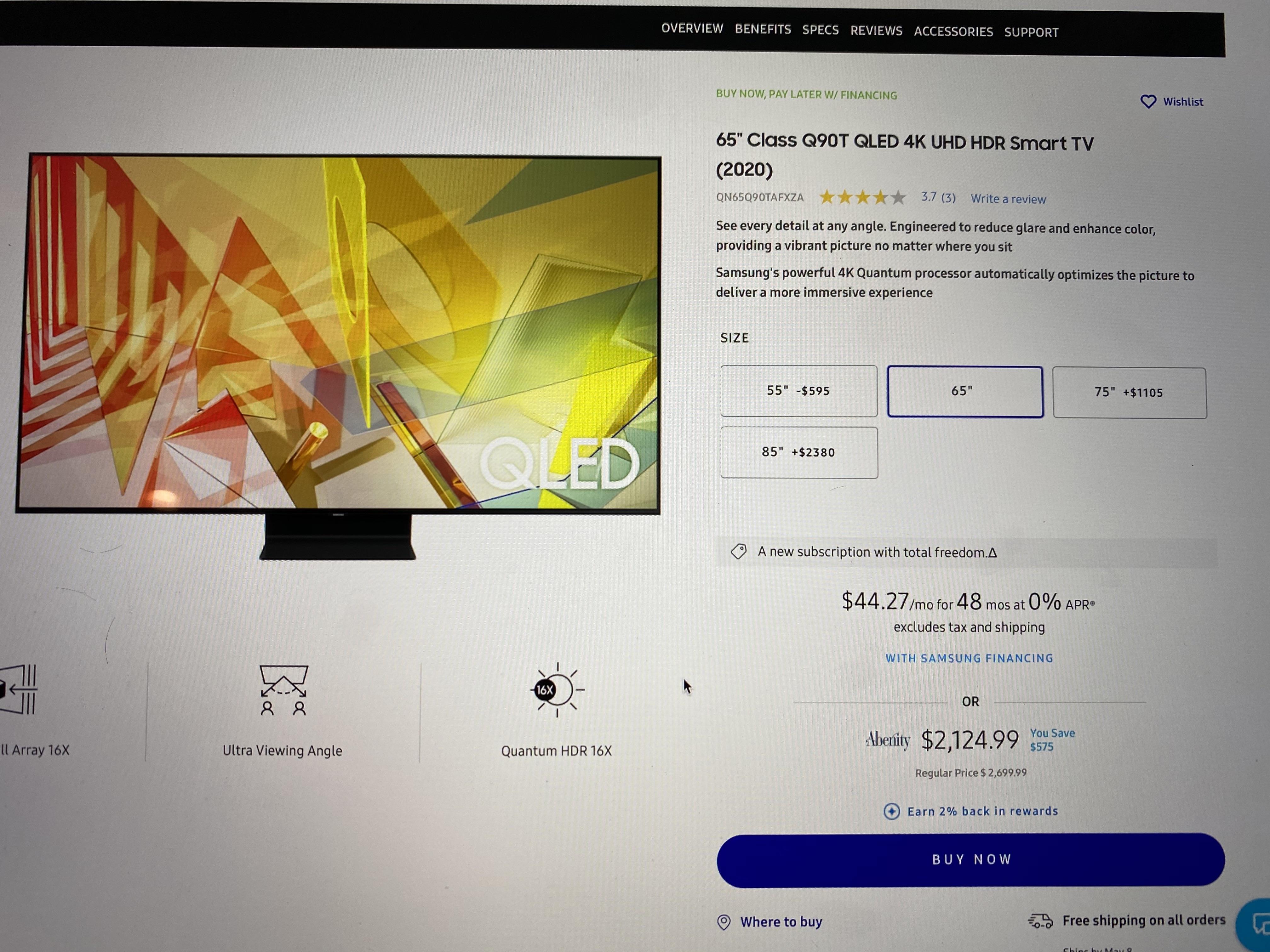 "65"" Class Q90T QLED 4K UHD HDR Smart TV (2020) - $2,124.99 @ Samsung w/ Abenity discount"