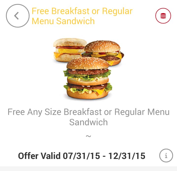 Mcdonalds - Free Sandwich - No Purchase Necessary (Registration Required) Android, IOS. YMMV