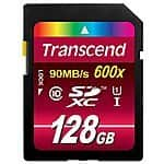 Transcend 128 GB High Speed Class 10 UHS Flash Memory Card Up to 90 MB/s $49.99