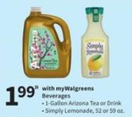 128-Oz Flavored Arizona Iced Tea or 52 oz. Fruit Drink for $1.99 at Walgreens