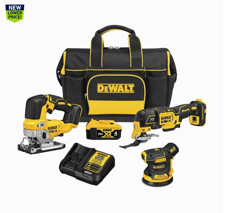DEWALT XR 3-Tool 20-Volt Max Brushless Power Tool Combo Kit with Soft Case (Charger Included and 1-Battery Included) $299