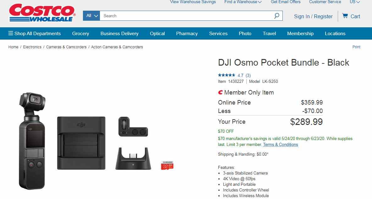DJI Osmo Pocket Bunle $70 off $359.99 5/24-6/22