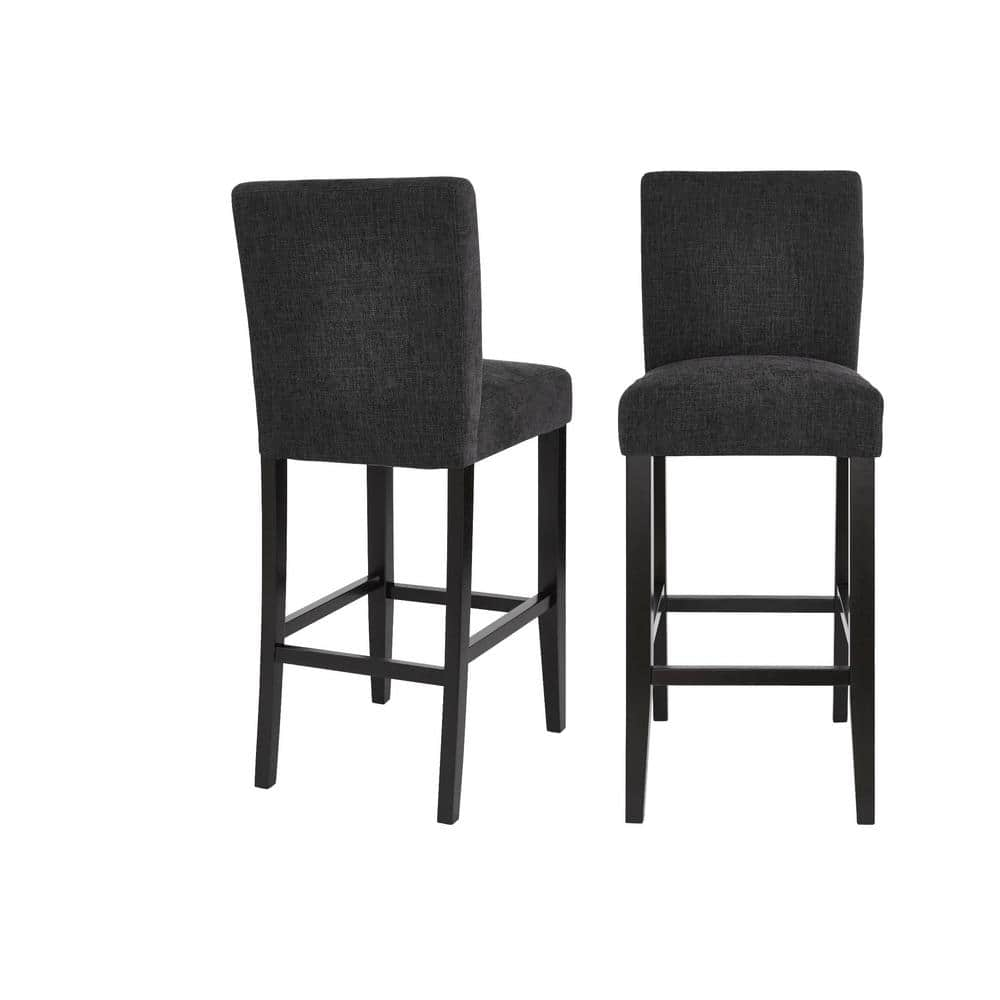 Save 40% Banford Ebony Wood Upholstered Bar Stool with Back and Black Seat $167.4