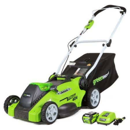GreenWorks 16-Inch 40V Cordless Lawn Mower, 4.0 AH Battery [25322] and Lawn Mower Storage Cover $178.41