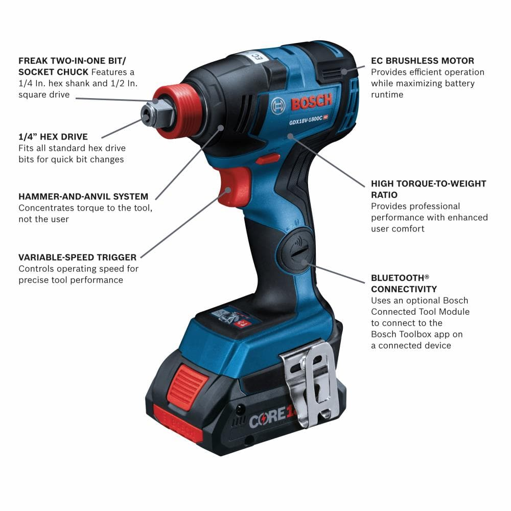 """YMMV Bosch Freak Impact driver/Wrench 1/2"""" with 4ah Core battery and Charger $59.27, in store only"""