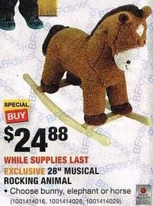 "Home Depot Black Friday: 28"" Musical Rocking Animal: Bunny, Elephant or Horse - Your Choice for $24.88"