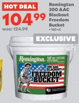Academy Sports + Outdoors Black Friday: Remington 300 AAC Blackout 160-Round Freedom Bucket for $104.99