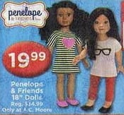 """AC Moore Black Friday: Penelope & Friends 18"""" Dolls, Each for $19.99"""