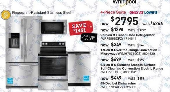 Lowe's Black Friday: Whirlpool WFE770H0FZ 6.4 Cu. Ft. 5-Element Smooth Surface Self-Cleaning Convection Electric Range for $699.00