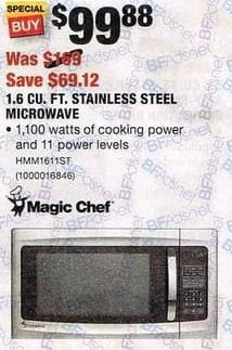 Home Depot Black Friday: Magic Chef HMM1611ST 1.6 Cu. Ft. 1100 Watt Stainless Steel Microwave for $99.88