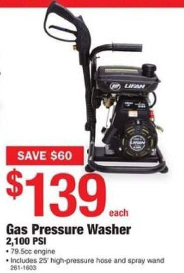 Menards Black Friday Lifan 2 100 Psi Gas Pressure Washer