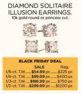 Kohl's Black Friday: 1/4-ct T.W. Diamond Solitaire Illusion 10k Gold Earrings for $99.99