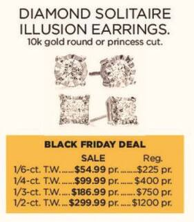 Kohl's Black Friday: 1/2-ct T.W. Diamond Solitaire Illusion 10k Gold Earrings for $299.99