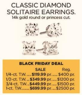 Kohl's Black Friday: 1-ct T.W. Classic Diamond Solitaire 14k Gold Earrings for $699.99