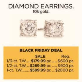 Kohl's Black Friday: 1/3-ct T.W. Diamond 10k Gold Earrings for $179.99