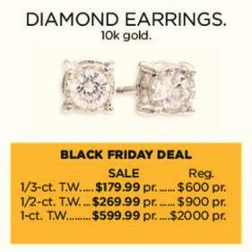 Kohl's Black Friday: 1-ct T.W. Diamond 10k Gold Earrings for $599.99