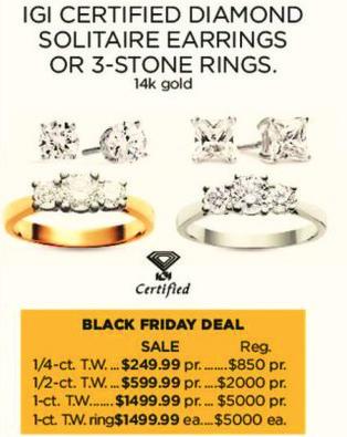 Kohl's Black Friday: 1-ct T.W. IGI Certified Diamond Solitaire 14k Gold Earrings for $1,499.99