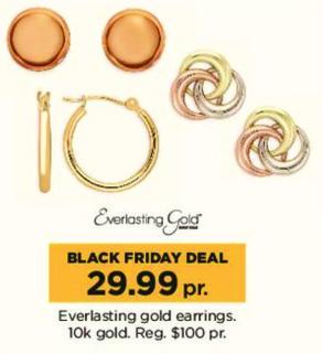 Kohl's Black Friday: Everlasting Gold 10k Gold Earrings for $29.99