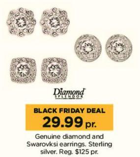 Kohl's Black Friday: Diamond Splendor Genuine Diamond and Swarovski Earrings for $29.99