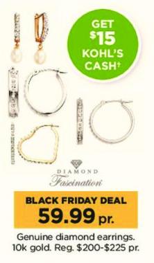 Kohl's Black Friday: Diamond Fascination Genuine Diamond 10k Gold Earrings + $15 Kohl's Cash for $59.99