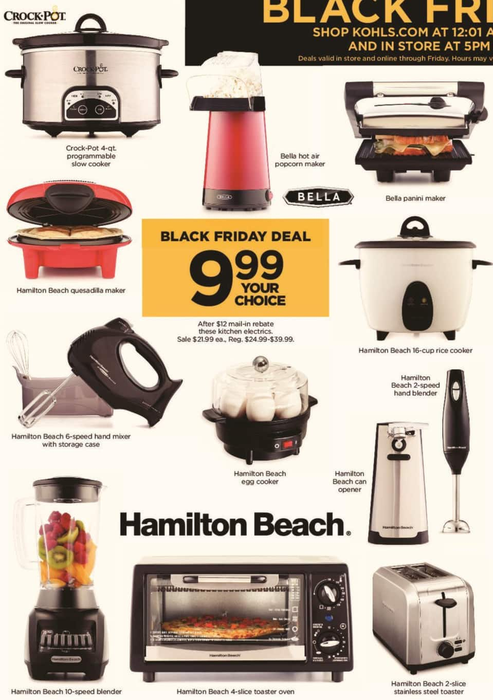 Kohl's Black Friday: Select Small Appliances: Crock-Pot 4-qt Programmable Slow Cooker, Hamilton Beach 10-Speed Blender & More - Your Choice for $9.99 after $12.00 rebate