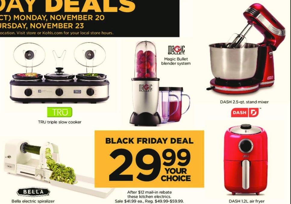Kohl's Black Friday: Select Kitchen Electrics: Magic Bullet Blender System, Bella Electric Spiralizer & More - Your Choice for $29.99 after $12.00 rebate