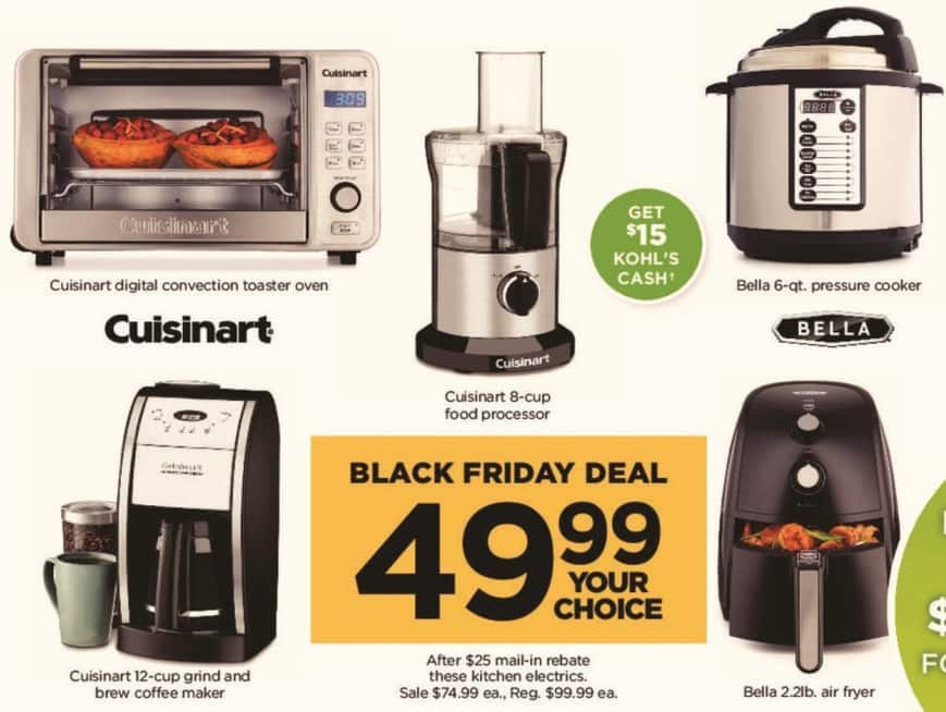 Kohl's Black Friday: Select Kitchen Electrics: Cuisinart 8-cup Food Processor, Cuisinart Digital Convection Toaster Oven & More - Your Choice for $49.99 after $25.00 rebate