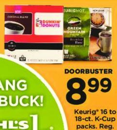 Kohl's Black Friday: Keurig 16-18 count K-cup Packs for $8.99