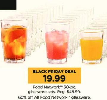 Kohl's Black Friday: Food Network 30-pc Glassware Sets for $19.99