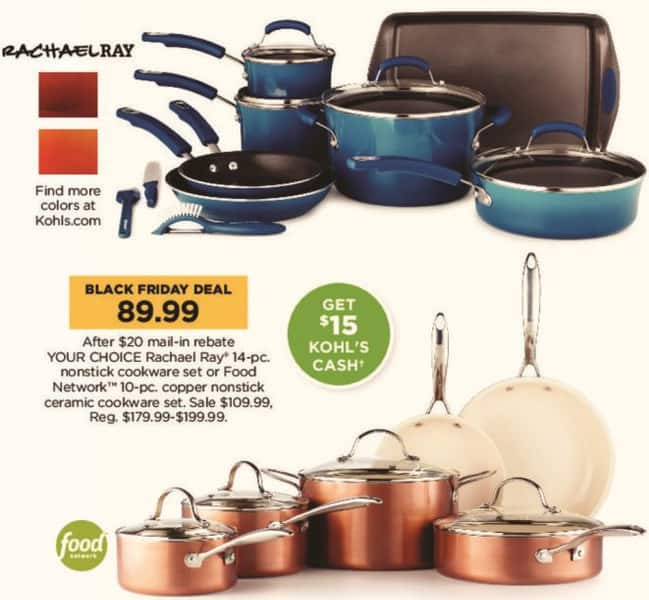 Kohl's Black Friday: Rachael Ray 14-pc Nonstick Cookware Set + $15 Kohl's Cash for $89.99 after $20.00 rebate